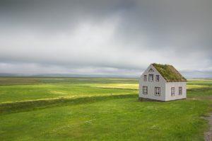 iceland, house, landscape